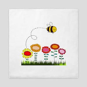 Bee Buzzing a Flower Garden Queen Duvet