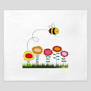 Bee Buzzing a Flower Garden King Duvet