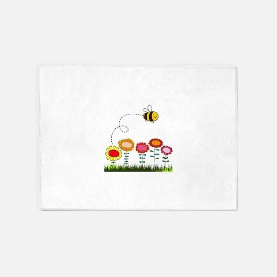 Bee Buzzing a Flower Garden 5'x7'Area Rug
