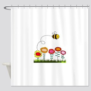 Bee Buzzing a Flower Garden Shower Curtain