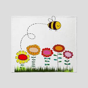 Bee Buzzing a Flower Garden Throw Blanket