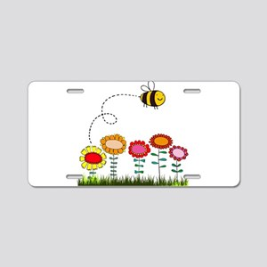 Bee Buzzing a Flower Garden Aluminum License Plate