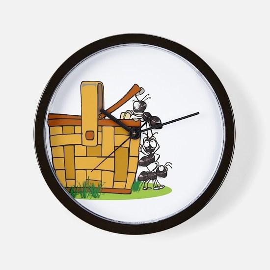 Ants Raiding a Picnic Basket Wall Clock