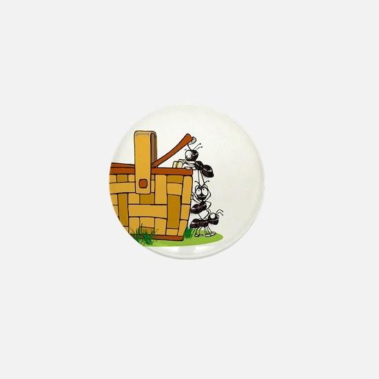 Ants Raiding a Picnic Basket Mini Button