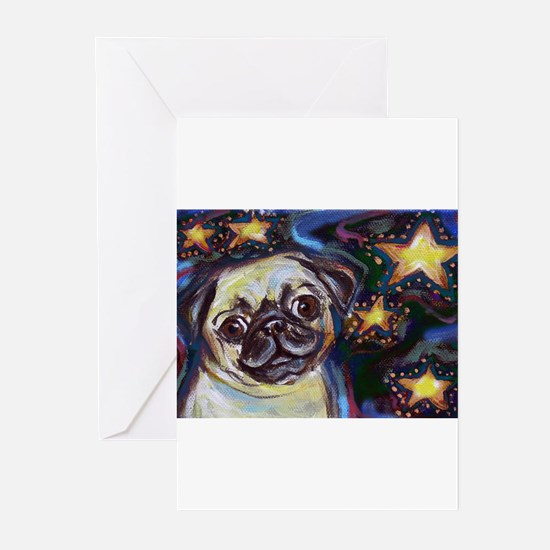 Cute Pugs christmas Greeting Cards (Pk of 10)