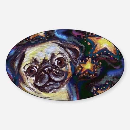 Unique Pug christmas Sticker (Oval)