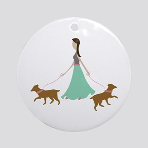 Walking Dogs Ornament (Round)