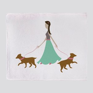 Walking Dogs Throw Blanket