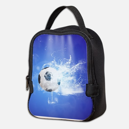 Soccer with water slpash Neoprene Lunch Bag