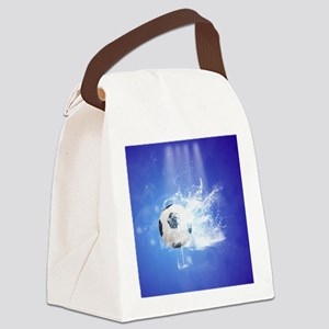 Soccer with water slpash Canvas Lunch Bag