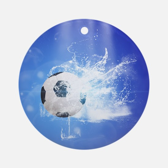Soccer with water slpash Ornament (Round)