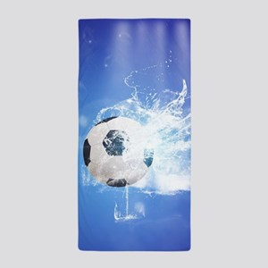 Soccer with water slpash Beach Towel