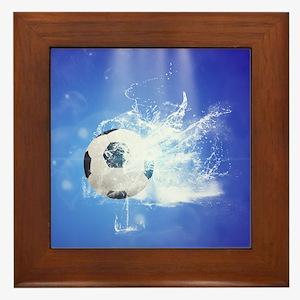 Soccer with water slpash Framed Tile