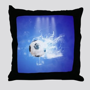 Soccer with water slpash Throw Pillow