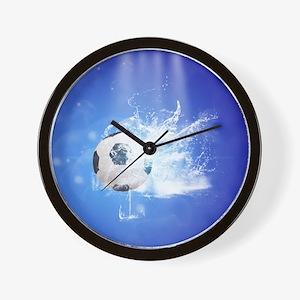 Soccer with water slpash Wall Clock