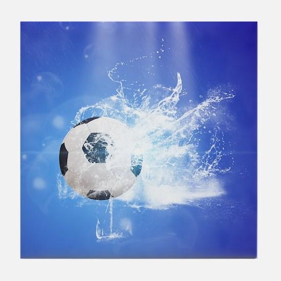 Soccer with water slpash Tile Coaster