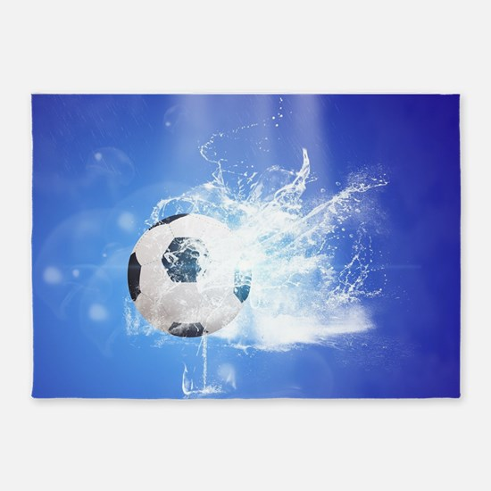 Soccer with water slpash 5'x7'Area Rug