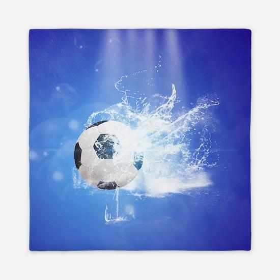 Soccer with water slpash Queen Duvet