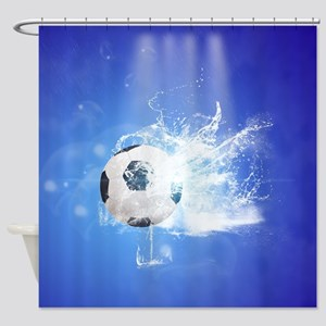 Soccer with water slpash Shower Curtain