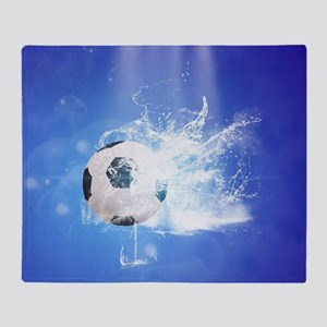 Soccer with water slpash Throw Blanket