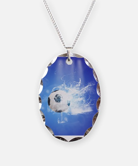 Soccer with water slpash Necklace