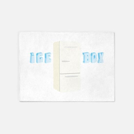 Retro Refrigerator Ice Box 5'x7'Area Rug