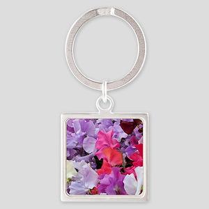 Sweet peas flowers in bloom Keychains