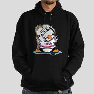 Ice Hockey Penguin (5) Hoodie (dark)