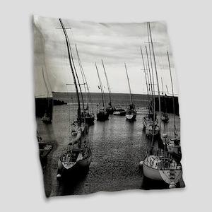 Sailboats at Harbor Mouth Burlap Throw Pillow