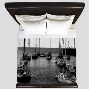 Sailboats at Harbor Mouth King Duvet