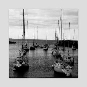 Sailboats at Harbor Mouth Queen Duvet
