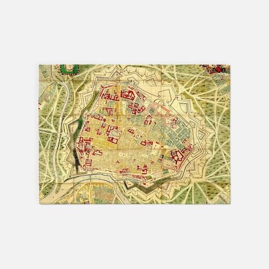 Vintage Map of Vienna Austria (1710 5'x7'Area Rug