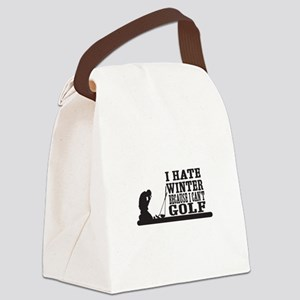 I hate winter because I cant golf Canvas Lunch Bag