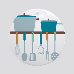 Kitchen Cooking Utensils Pots Ornament (Round)