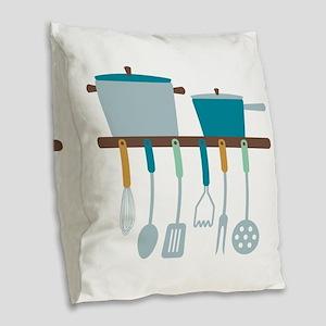 Kitchen Cooking Utensils Pots Burlap Throw Pillow