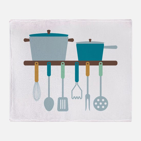 Kitchen Cooking Utensils Pots Throw Blanket