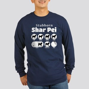 Stubborn Shar Pei v2 Long Sleeve Dark T-Shirt