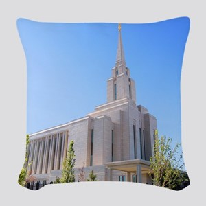 LDS Oquirrh Mountain Temple Woven Throw Pillow