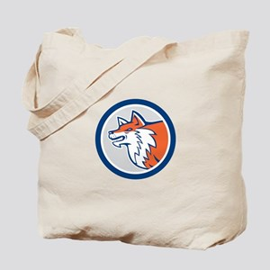 Red Fox Head Pouncing Circle Retro Tote Bag
