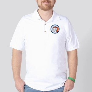 Red Fox Head Pouncing Circle Retro Golf Shirt