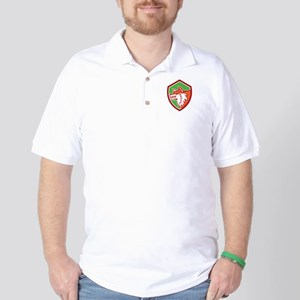 Red Fox Head Pouncing Shield Retro Golf Shirt
