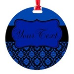 Blue Black Personalized Ornament