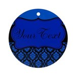 Blue Black Personalized Ornament (Round)