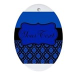 Blue Black Personalized Ornament (Oval)
