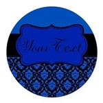 Blue Black Personalized Round Car Magnet