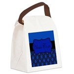 Blue Black Personalized Canvas Lunch Bag