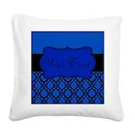 Blue Black Personalized Square Canvas Pillow