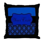 Blue Black Personalized Throw Pillow