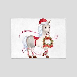 Peace on Earth Christmas Horse 5'x7'Area Rug
