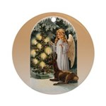 Angel Decorates Ornament (round)